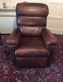 Chesnut Brown Leather Electric Recliner Chair - Superb Condition! RRP £1,000