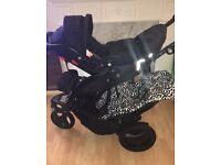 Graco trekko sport luxe tandem Double Pram, used good cond, with car seat, rain cover and foodmuff
