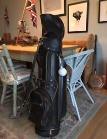 Leather golf caddie bag for clubs