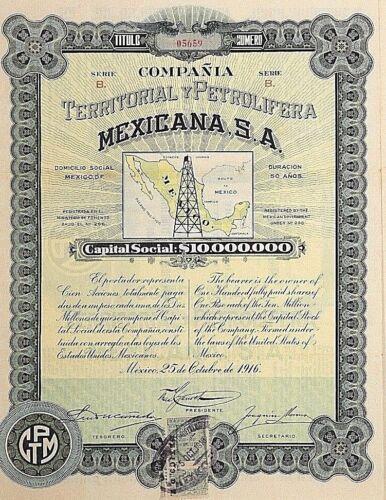 MEXICO P/33 COMPAÑIA TERRITORIAL Y PETROLIFERA MEXICANA 100 acciones de 1916