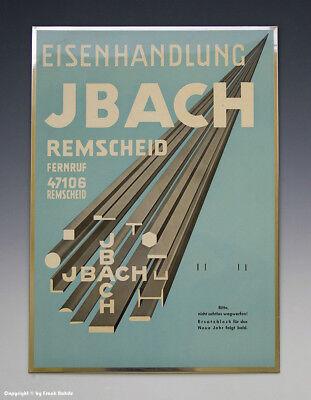 Imoglas Blechschild EISENHANDLUNG JBACH REMSCHEID um 1950