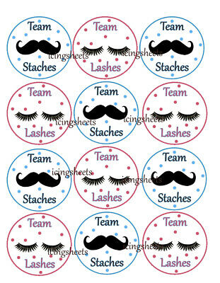 Lashes or Stash baby gender reveal edible wafer cookie toppers cupcake tops  - Birthday Stash