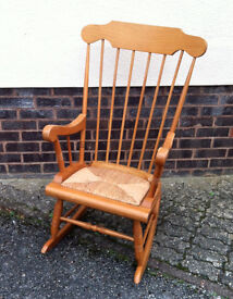 Pine Rocking Chair with Rush Seat