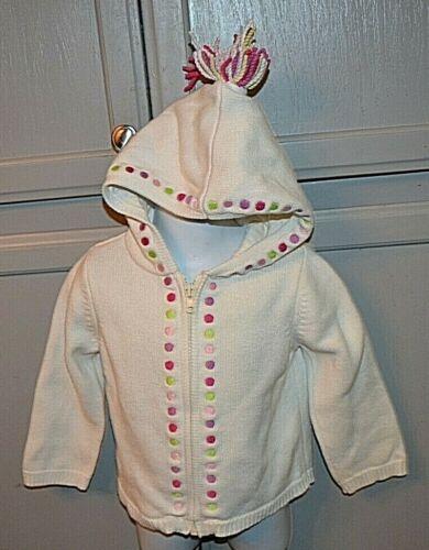 Gymboree white w dots hooded sweater w tassel girl sz 2T