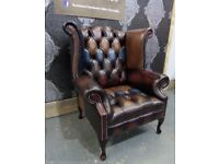 Stunning NEW Chesterfield Harlequin Queen Anne Wing Back Chair in Leather - UK Delivery