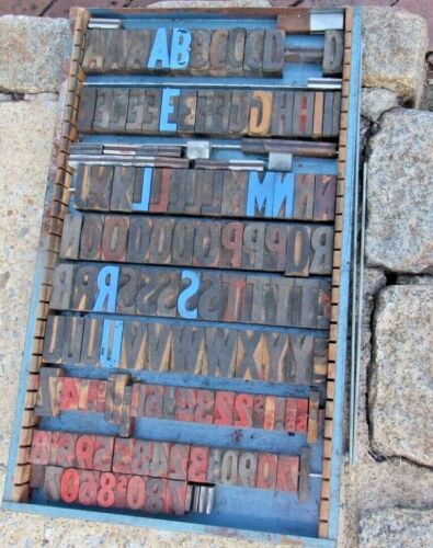 Large Antique Vintage Wood Letterpress Print Type Block A-Z Letters #s