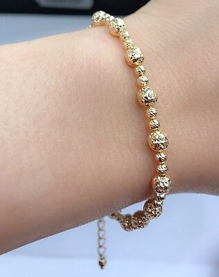 18k Solid Yellow Gold Diamond Cut Beaded  Ball Bracelet, 7 inches, 5.0 Grams.