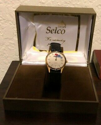 Selco Custom Company Pepsi Quartz Men's Watch Genuine Black Leather Band Vintage