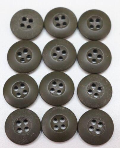 US military OD green fatigue btu Uniform buttons 3/4in 19mm 30L lot of 12 B2207