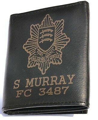 ESSEX COUNTY FIRE & RESCUE PERSONALISED GENUINE LEATHER WALLET ANY NAME & NUMBER
