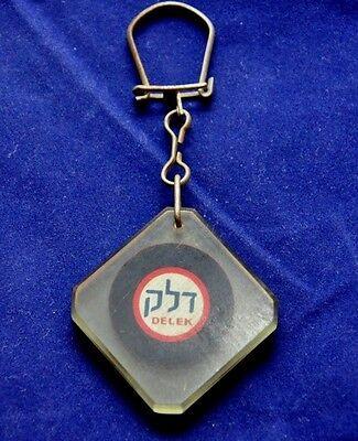 Delek Oil Gas Fuel Corp Vintage Plastic Keychain Key Ring Hebrew Israel English