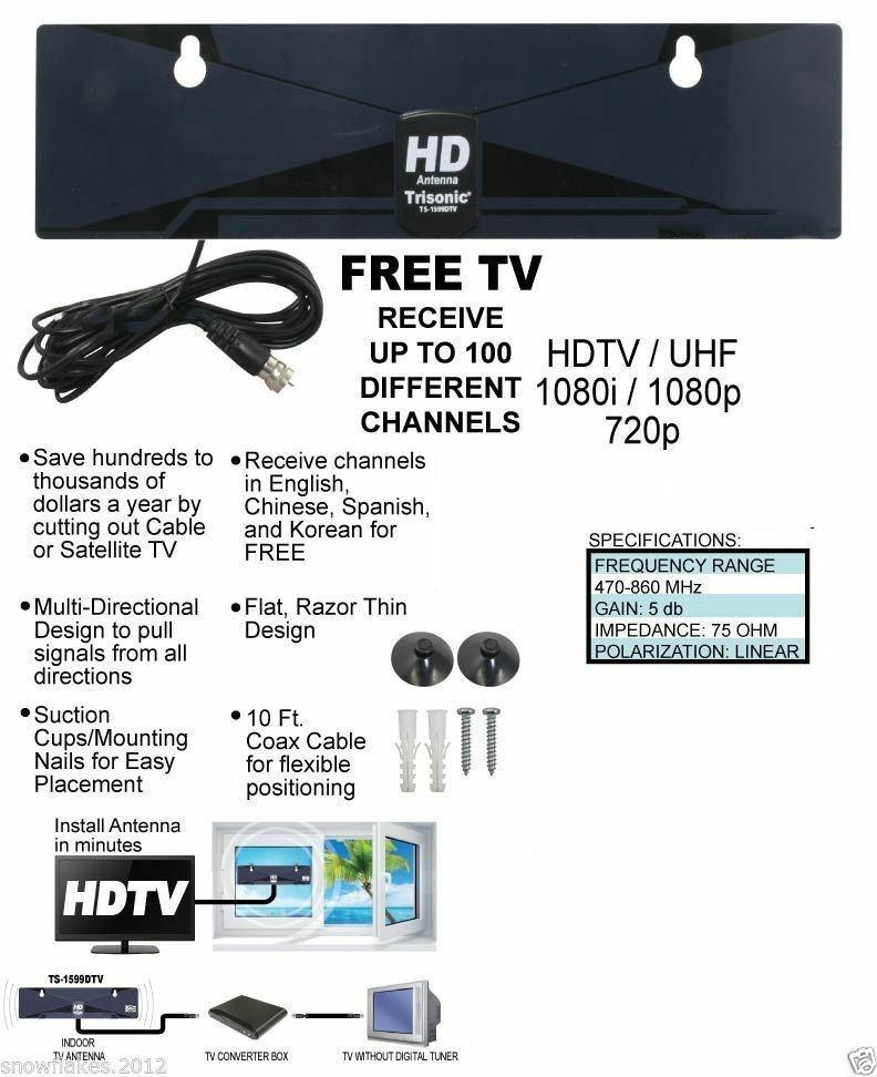 Digital Indoor TV Antenna HDTV DTV Box Ready HD VHF UHF Flat