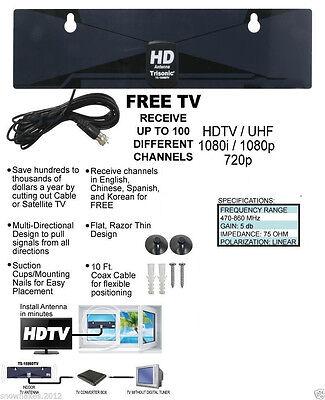 HD Clear Signal Digital HDTV HD VHF UHF Antenna Ultra Thin F