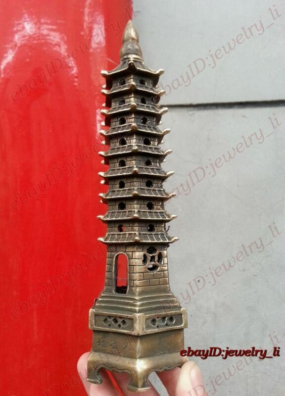 collection bronze Vintage peace Pagoda /pagod Statue Tower 9-Tier