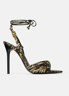 BNWT Zara Snake Print Twisted Ankle Lace Up Strap Black Heels Sandals 37 6.5
