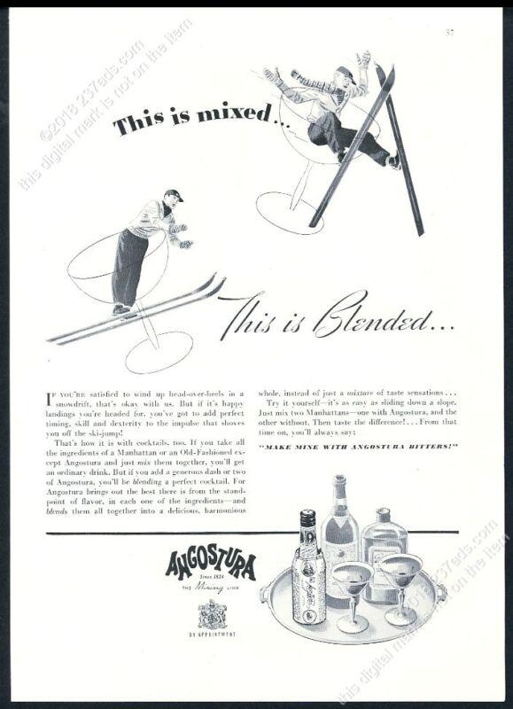 1939 skiing skier art Angostura Bitters vintage print ad