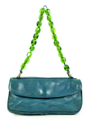 DRIES VAN NOTEN Teal Blue Leather Green Glass Beaded Strap Shoulder (Dries Van Noten Glasses)
