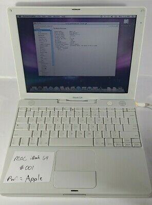 Vintage 2005 Apple G4 iBook Laptop A1133 Wifi, 1GB Ram, Mac OS 10.5.8, Working