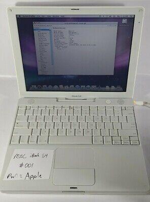 Vintage 2005Apple G4 iBook Laptop A1133 Wifi, 1GB Ram, Mac OS 10.5.8, Working