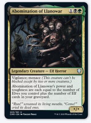 1x Abomination of Llanowar NM Commander Legendary Elf Horror Menace SHIPS 11/20