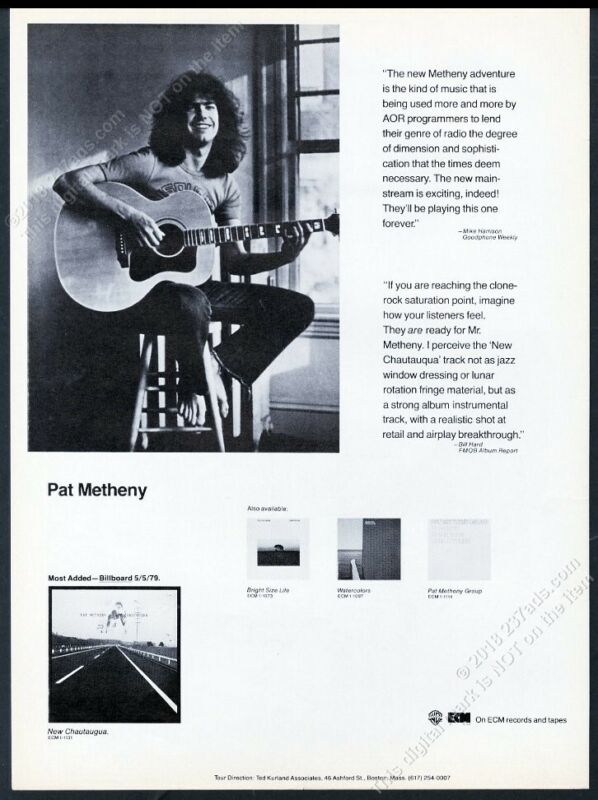 1979 Pat Metheny photo New Chataqua album release vintage trade print ad