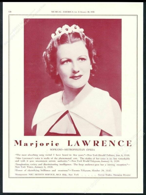 1938 Marjorie Lawrence photo opera recital tour booking trade print ad