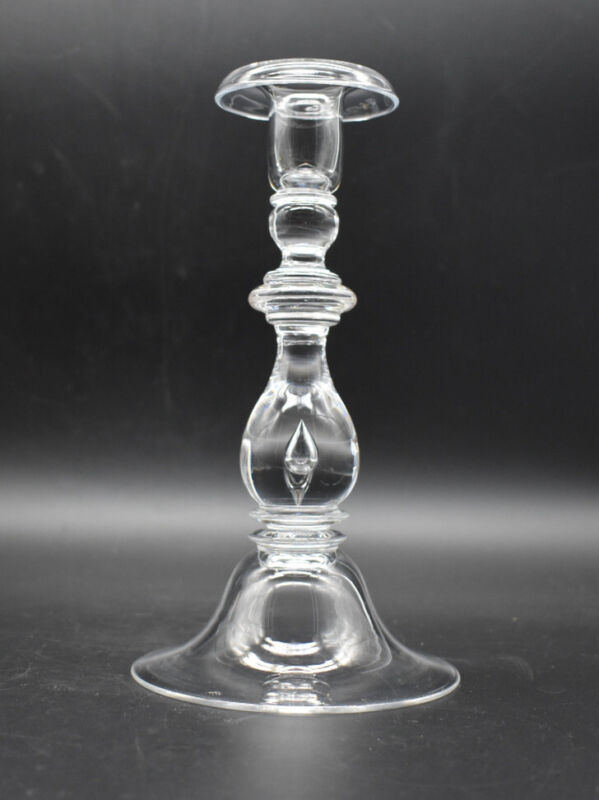 "Steuben American Art Glass Baluster Teardrop Air Trap Stem 9"" Candlestick"