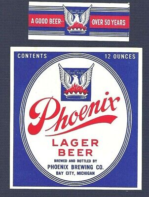 Phoenix Lager Beer Label, non - IRTP, Phoenix Brewing Co., Bay City, MI w/neck
