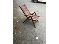 hardwood reclining garden chairs
