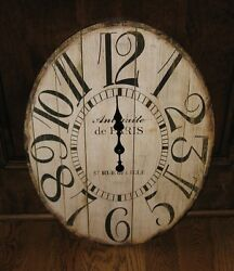 BIG Face Wall CLOCK*Antique White*Primitive Home/French Country Farmhouse Decor
