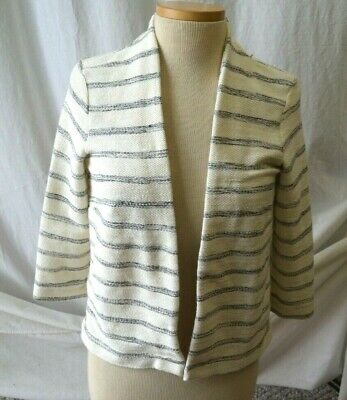 H&M Women's Ivory/Black Striped Knit 3/4 Sleeve Blazer Jacket Size S NWT