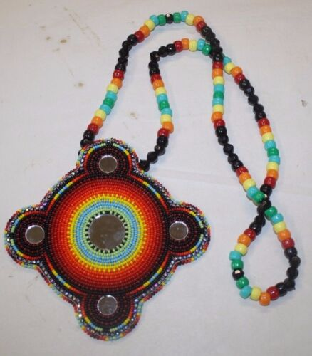 NATIVE AMERICAN BEADED NECKLACE & PENDANT VERY TIGHT BEADING FREE SHIPPING