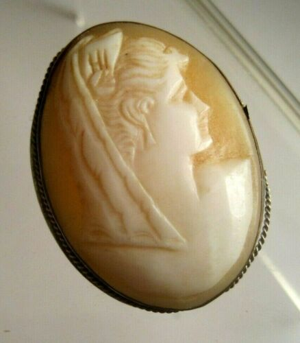Vintage CARVED SHELL WOMAN w/VEIL SCARF CAMEO SILVERPLATE SETTING PIN PENDANT