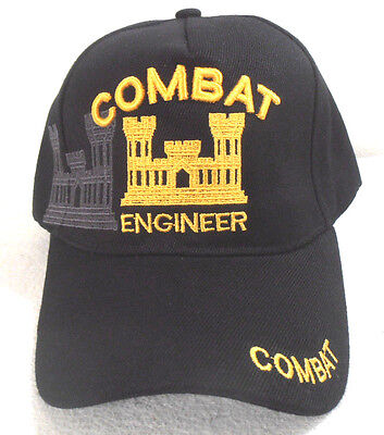 MILITARY CAP ARMY COMBAT ENGINEER  HAT  BLACK WITH - Engineer Caps