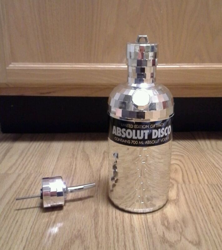 ABSOLUT VODKA - EMPTY Disco mirror cover 700mL 2nd skin w/ bottle pourer & cap