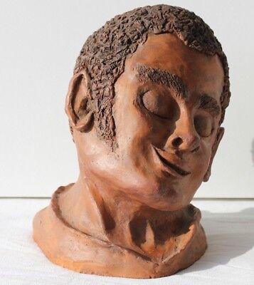 ESCULTURA DE BARRO COCIDO - FIRMADA LEMÉE - CABEZA NEGRE - H. 26 cm - 7,450 kg