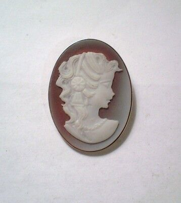 Gorgeous Sterling Silver Ornately Carved Cameo on Carnelian Woman Brooch Pendant