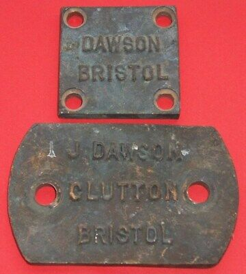 VINTAGE J DAWSON CLUTTON BRISTOL CAST BRONZE PLAQUE / SIGN x 2  AS PICTURES