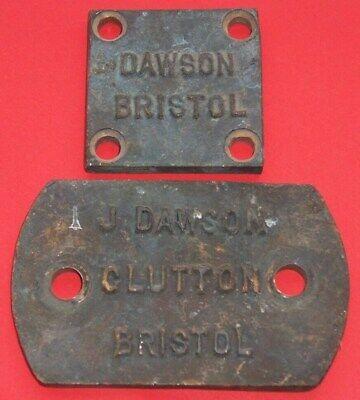 VINTAGE J DAWSON CLUTTON BRISTOL CAST BRONZE PLAQUE / SIGN x 2  AS PICTURES