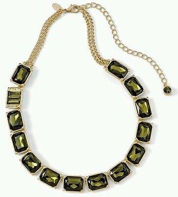 Lia Sophia Versailles Olivine Necklace Emerald Gold Cut Crystal18