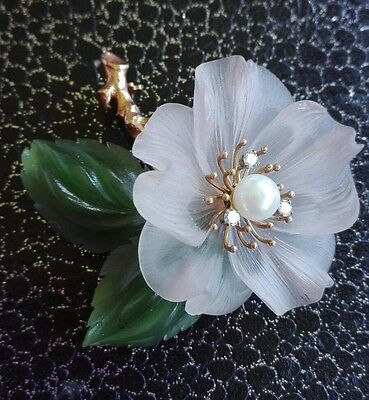 Brosche Vintage Gelbgold 585 Jade Rosenquarz Diamanten Perle