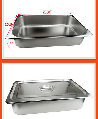 Standard Full Size Steam Table Pan Stainless Steel 4 Iinches Deep Lid Included