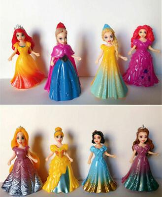 8pcs Disney Princess Action Figures Changed Dress Doll Kids Boys Girls Toys Gif
