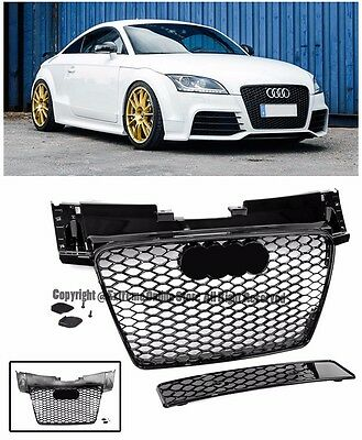 TT RS Style Honeycomb Glossy Black Front Bumper Hood Grille For 08-15 Audi TT