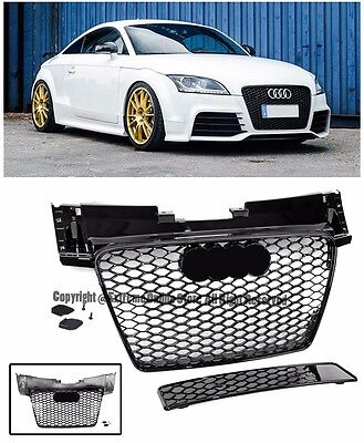 TT RS Style Honeycomb Glossy Black Front Bumper Hood Grille For 08-15