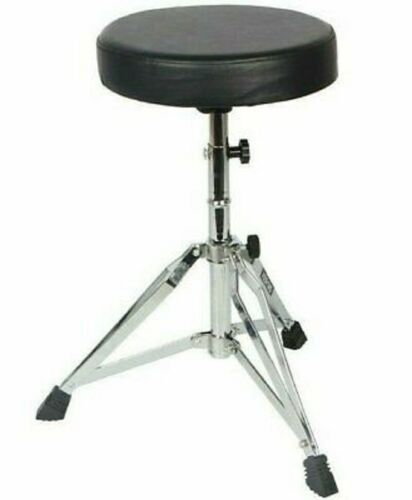 CHROME 2021 PRO Universal Drum Chair Round Padded Seat Throne Stool Stand DS CH
