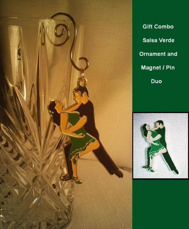 "Unique Ballroom Dance Gifts /Ornament & Magnet  ""Salsa Verde ""- Green & Black"