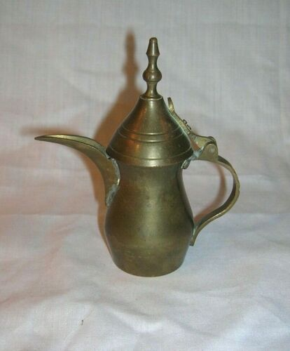 Vintage Miniature Brass Dallah Coffee/ Tea Pot made in Turkey 3.5 inches tall