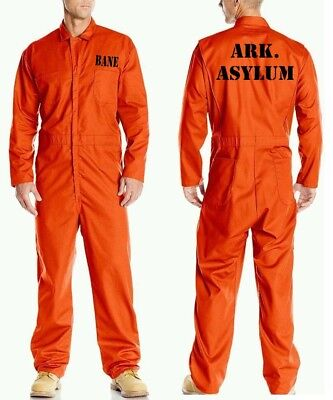 BANE ASYLUM Prison Jail Costume JUMPSUIT Best Quality Orange Halloween Cosplay - Jail Halloween Costume