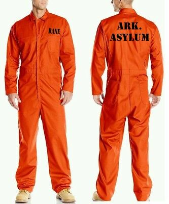 BANE ASYLUM Prison Jail Costume JUMPSUIT Best Quality Orange Halloween Cosplay
